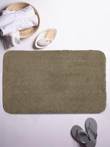 "Lushomes Beige Thick and fluffy 1800 GSM bathmat with High Pile Microfiber (12""x 18"", Single Pc) - Lushomes"