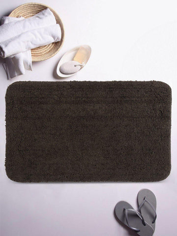"Lushomes Chocolate Brown Thick and fluffy 1800 GSM bathmat with High Pile Microfiber (12""x 18"", Single Pc) - Lushomes"