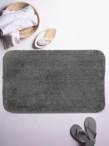 "Lushomes Grey Thick and fluffy 1800 GSM bathmat with High Pile Microfiber (12""x 18"", Single Pc) - Lushomes"