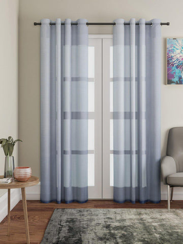 "Lushomes Grey Design 1 Melody Sheer Door Curtains 4.5 Ft x 7.5 ft. (54"" x 90"", Single pc) - Lushomes"