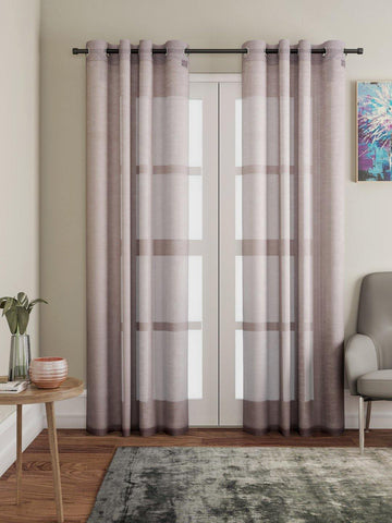 "Lushomes Brown Design 1 Melody Sheer Door Curtains 4.5 Ft x 7.5 ft. (54"" x 90"", Single pc) - Lushomes"