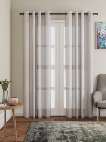 "Lushomes Brown Design 2 Melody Sheer Door Curtains 4.5 Ft x 7.5 ft. (54"" x 90"", Single pc) - Lushomes"