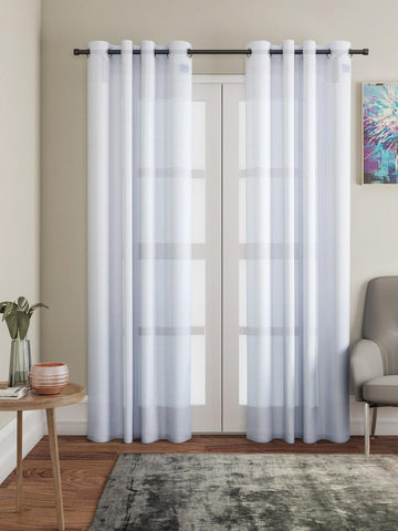 "Lushomes White Design 3 Melody Sheer Door Curtains 4.5 Ft x 7.5 ft. (54"" x 90"", Single pc) - Lushomes"