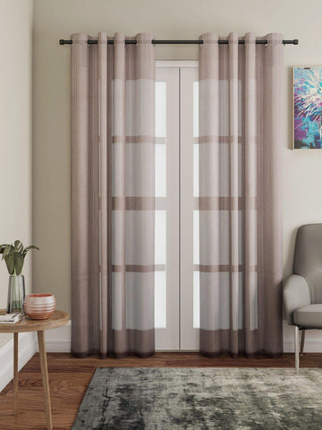 "Lushomes Brown Design 3 Melody Sheer Door Curtains 4.5 Ft x 7.5 ft. (54"" x 90"", Single pc) - Lushomes"