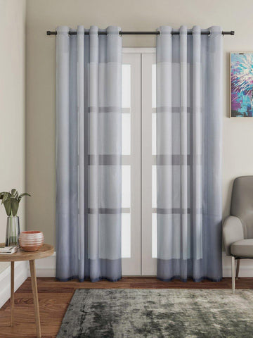 "Lushomes Grey Design 4 Melody Sheer Door Curtains 4.5 Ft x 7.5 ft. (54"" x 90"", Single pc) - Lushomes"