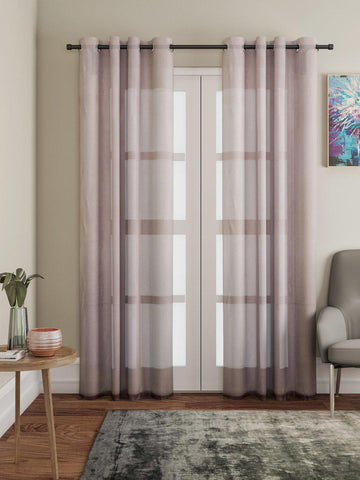 "Lushomes Brown Design 4 Melody Sheer Door Curtains 4.5 Ft x 7.5 ft. (54"" x 90"", Single pc) - Lushomes"