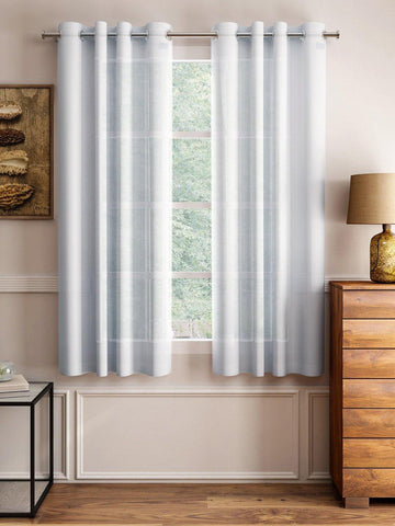 "Lushomes White Design 3 Melody Sheer Window Curtains 4.5 Ft x 5 ft. (54"" x 60"", Single pc) - Lushomes"