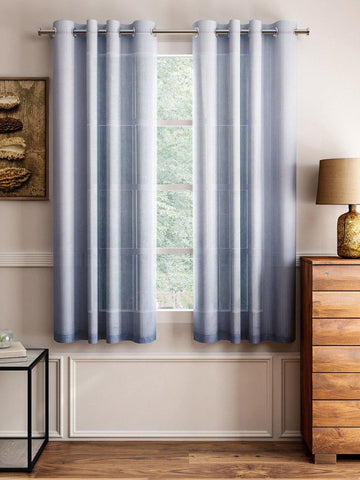 "Lushomes Grey Design 3 Melody Sheer Window Curtains 4.5 Ft x 5 ft. (54"" x 60"", Single pc) - Lushomes"