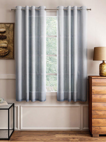 "Lushomes Grey Design 4 Melody Sheer Window Curtains 4.5 Ft x 5 ft. (54"" x 60"", Single pc) - Lushomes"