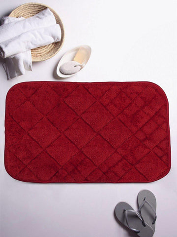 "Lushomes Maroon Super soft memory foam bathmat ( Bathmat Size 12""x 20"", Single pc) - Lushomes"