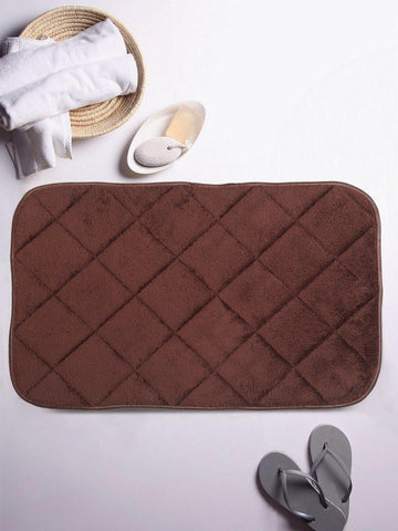 "Lushomes Brown Super soft memory foam bathmat ( Bathmat Size 12""x 20"", Single pc) - Lushomes"