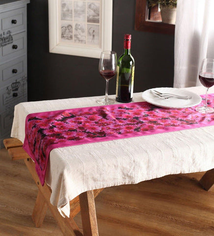 Lushomes Digital Printed Pink Themed Polyester Table Runner