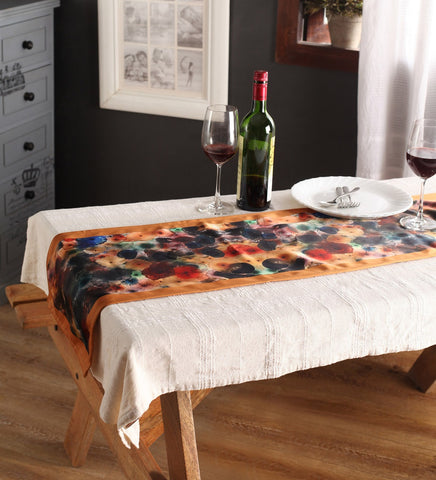 Lushomes Digital Printed Cream Themed Polyester Table Runner