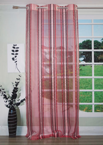 Lushomes Stylish Maroon Sheer Curtains with Stripes for Doors - Lushomes