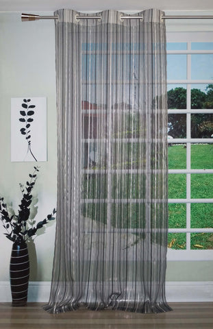 Lushomes Stylish Black Sheer Curtains with Stripes for Doors - Lushomes