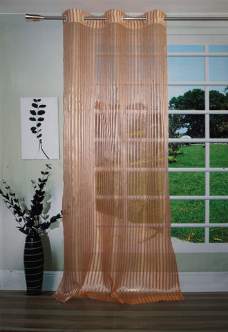 Lushomes Stylish Rust Sheer Curtains with Stripes for Doors - Lushomes