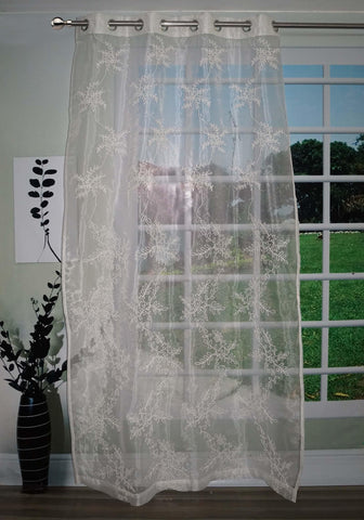 "Lushomes Stylish White with Leaf Design Sheer Curtain for Door, Size: 45""x84"" (Single pc) - Lushomes"