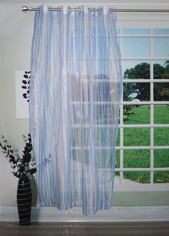 "Lushomes Stylish Blue with Abstract Stripes Sheer Curtain for Door, Size: 45""x84"" (Single pc) - Lushomes"
