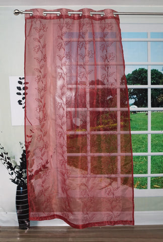 "Lushomes Stylish Red with Flower Design Sheer Curtain for Door, Size: 45""x84"" (Single pc) - Lushomes"