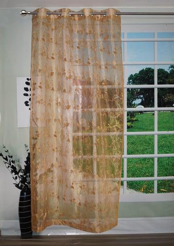"Lushomes Stylish Beige with Human Figures Sheer Curtain for Door, Size: 45""x84"" (Single pc) - Lushomes"