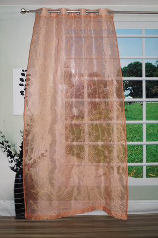 "Lushomes Stylish Brown with Flower Design Sheer Curtain for Door, Size: 45""x84"" (Single pc) - Lushomes"