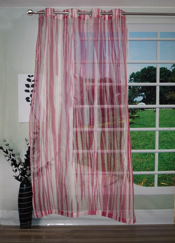"Lushomes Stylish Magenta with Abstract Stripes Sheer Curtain for Door, Size: 45""x84"" (Single pc) - Lushomes"