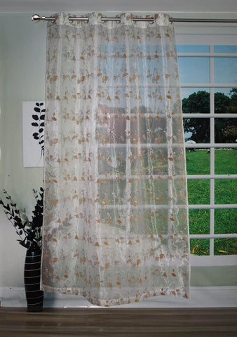 "Lushomes Stylish White with Human Figures Sheer Curtain for Door, Size: 45""x84"" (Single pc) - Lushomes"