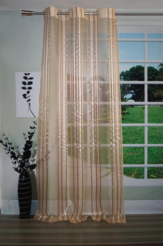 Lushomes Stylish Beige Sheer Curtains with Stripes for Long Doors - Lushomes