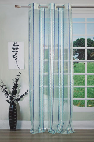 Lushomes Stylish Blue Sheer Curtains with Stripes for Long Doors - Lushomes