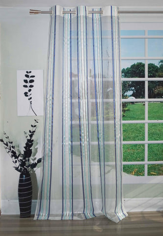 Lushomes Stylish Light Blue Sheer Curtains with Stripes for Long Doors - Lushomes
