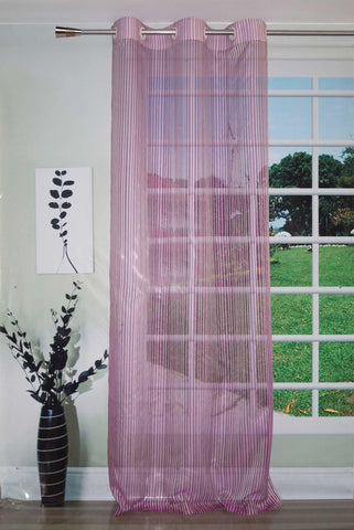 Lushomes Stylish Purple Sheer Curtains with Stripes for Long Doors - Lushomes