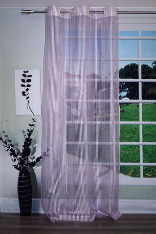 Lushomes Stylish Light Purple Sheer Curtains with Stripes for Long Doors - Lushomes