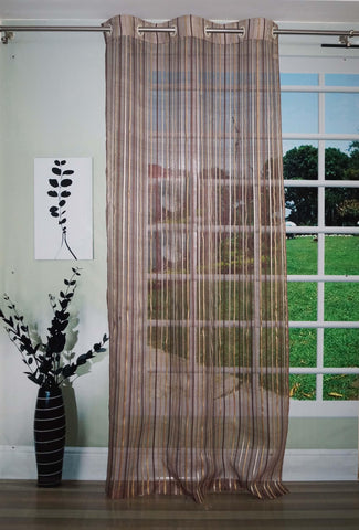 Lushomes Stylish Brown Sheer Curtains with Stripes for Long Doors - Lushomes