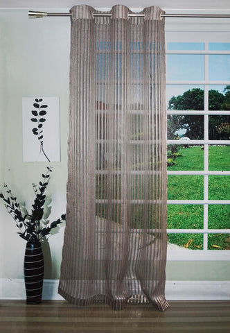 Lushomes Stylish Black Sheer Curtains with Stripes for Long Doors - Lushomes