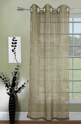 Lushomes Stylish Green Sheer Curtains with Stripes for Long Doors - Lushomes