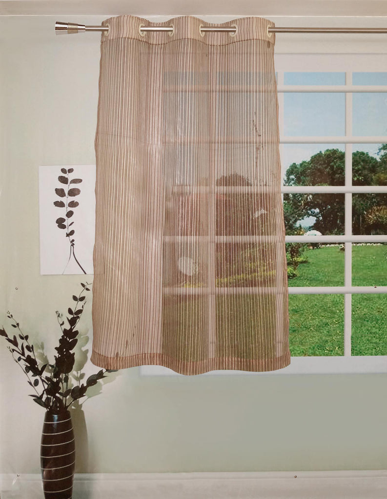 Lushomes Stylish Brown Sheer Curtains With Stripes For Windows