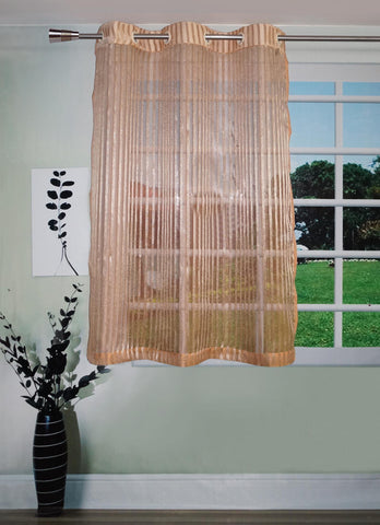 Lushomes Stylish Rust Sheer Curtains with Stripes for Windows - Lushomes