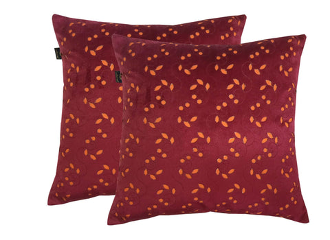 "Lushomes Maroon thick velvet fabric with Laser cutting with lining. (16 x 16"", Pack of 2) - Lushomes"