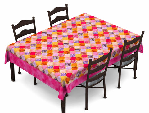 Lushomes Digital Printed Pink Themed Table Cloth For 6 Seater - Lushomes