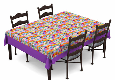 Lushomes Digital Printed Purple Themed Table Cloth For 6 Seater - Lushomes