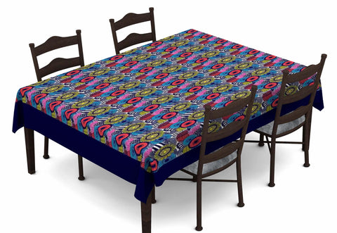 Lushomes Digital Printed Blue Themed Table Cloth For 6 Seater - Lushomes