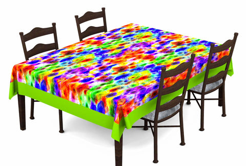 Lushomes Digital Printed Green Themed Table Cloth For 6 Seater - Lushomes