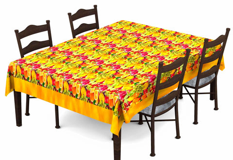 Lushomes Digital Printed Yellow Themed Table Cloth For 6 Seater - Lushomes