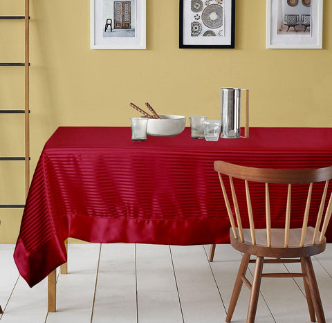 "Lushomes contemporary Wine Table cloth with striped center and plain border ( Size: 60"" x 90"" or 152 x 228 cms, Single Pc) - Lushomes"