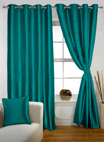 Lushomes Turquoise Twinkle Star Curtain with Blackout Lining for Doors - Lushomes