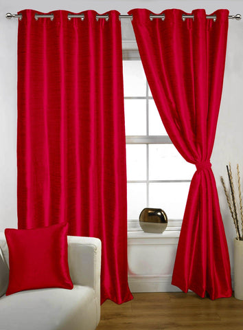 Lushomes Red Twinkle Star Curtain with Blackout Lining for Doors - Lushomes