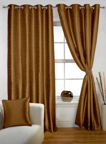 Lushomes Coffee Twinkle Star Curtain with Blackout Lining for Long Door - Lushomes