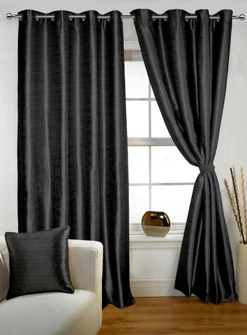 Lushomes Black Twinkle Star Curtain with Blackout Lining for Long Door - Lushomes