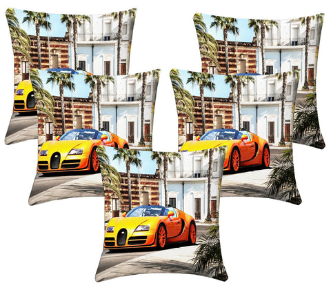 Lushomes Digital Print Car Cushion Covers (Pack of 5) - Lushomes