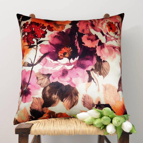 Lushomes Digital Printed Viola Cushion Cover on Ultra Premium Whiteout Fabric - Lushomes